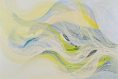 "Veiled Light 3, oil on canvas, 2011, 80 x 120cm ""sometimes sea is hidden behind white swirls of mist, but lifts in a magical epiphanic moment; this can happen in life too..."""